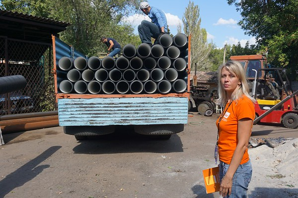 Delivery of pipes  and fittings to the frontline Myronivske