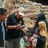 Norwegian Refugee Council staff registering newly internally displaced families from Hodeidah to provide them with assistance.<br /> <br /> Families affected by the current offensive on Hodeidah are in need of food, water and medical help. Photo: NRC/Husain Jabhan