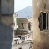Damaged homes in Taiz city