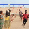 Aisha (8, green dress)<br /> Alofa (10, yellow dress)<br /> Saed (2, on the swing)<br /> Ma'na' (blue t-skirt)<br /> Dawood (7, red t-skirt)