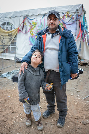 """Reza and his son Mohammad Amin (5) are from Iran. The fear they will not be able to continue their journey from Greece and onwards towards Germany.<br /> """"Iranians are not allowed to continue the journey from Greece. We want to go to Germany, but the borders are closed for us"""". <br /> Photo: Tiril Skarstein, NRC"""