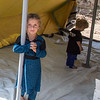 Hariman (6) fled Shingal 12. August together with her familiy. Since then they have lived in an overcrowded unfinished building structure together with 85 people. 27. August they could move into a tent given by UK aid through the Norwegian Refugee Council. <br /> <br /> Tents from UK aid are being pitched for displaced Iraqi families who have taken shelter under trees and in unfinished buildings in Zawita and Zahko in Dohuk, Northern Iraq. In total NRC is pitching 430 tents and is distributing kitchen sets from UK aid - for displaced Iraqi families. Photo: Tiril Skarstein, Norwegian Refugee Council