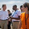 Norway's Foreign Minister Børge Brende (left) visiting Baharka displacement camp outside Erbil, Northern Iraq, where he was met by NRC's Programme Director Rebecca Dibb (right). Photo: Tiril Skarstein, Flyktninghjelpen/NRC