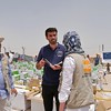 ECHO visited NRC's activities in Anbar on Monday 25 July. ECHO's Nicholas Hutchings is talking with programme manager Salah Noori and Advocacy and Information Advisor Elisabeth Koek. NRC is present in Anbar distributing emergency water, food, hygiene kits and baby kits ti newly displaced families from areas such as Heet and Fallujah. Photo: NRC/Becky Bakr Abdulla