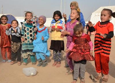 Children playing in Khazer camp