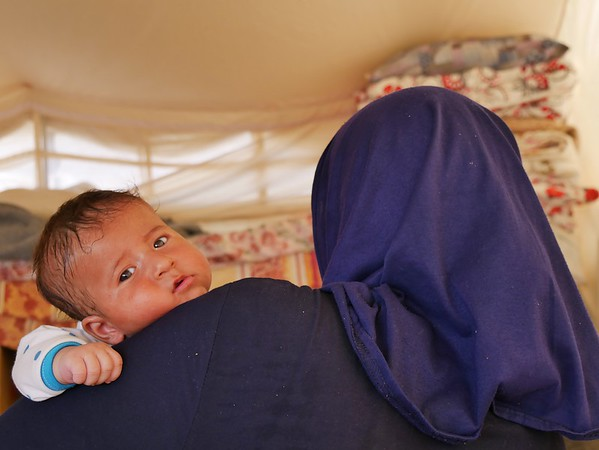 """Asil (23) holding her 2 month old son Kamal. <br /> <br /> Asil (23) is a widowed mother of four young children who arrived to Debaga camp two days ago. She is from Haji Ali, a village on the outskirts of Makhmour southeast of Mosul where she used to live with her husband and children. <br /> When ISIS took over control of the Haji Ali village, they took Asil's husband. She never saw him again, except on a photo sent to her by ISIS showing her husband dead with a bullet in his head. <br /> """"He never got to see his youngest son,"""" Asil says looking down at two month old baby Kamal. She was pregnant at the time her husband was abducted and killed. """"But he [her husband] decided the name, he decided to call him Kamal, but he never got to see him"""".<br /> When Iraqi forces started launched the operation to take back Makhmour and the villages surrounding in early 2016, life had gotten very hard for Asil, now a widow caring for her four children alone.<br /> """"There was no more milk left for my children. I had to feed them water and sugar. That is why she looks so small,"""" Asil says and point to her two year old daughter Noor. <br /> Asil is planning on leaving the camp and head to Kirkuk where she has family. She has no salary or money herself and is hoping that a family member can support her and her children until she can return home.<br /> """"My biggest wish is to put my children in school and see them grow up to a better life,"""" Asil says. <br /> <br /> Photo: NRC/Becky Bakr Abdulla"""