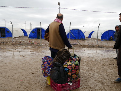 "Riaz (48) from Wadi Hajir on the west side of Mosul city just arrived in Hamam al-Alil with these bags that he and his wife brought with them. ""Life has died in Mosul, we did not have anything, ISIS took us to the train station in Babel Baiza and had us to stay there,"" Riaz says. ""I hope everything gets better soon, and people live together peacefully,"" Riaz adds. ""I love traveling, it is one of my hobbies, I have been many countries"" Riaz says.   Date: 16 March 2017 Text : Sarhang Sherwany  Photo: Alan Jalal"