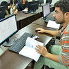 Ahmed (22) is learning how to use important IT tools like Excel in the IT class at NRC's youth education centre in Azraq refugee camp, Jordan. November 17, 2015. Photo: NRC/Guri Romtveit