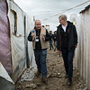 Jan Egeland speaking with Joe Keyrouz, NRC's Information, Counselling and Legal Assistance program coordinator in Bekaa. Egeland visited Syrian refugees in an informal tented settlement in the Bekaa Valley in Lebanon on February 25, 2015.  <br /> <br /> Photo: NRC/Tiril Skarstein