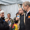 Jan Egeland speaking with colleagues from NRC in the informal tented settlement Arab Rajab in Al Marj in Bekaa. Egeland visited Syrian refugees in the Bekaa Valley in Lebanon on February 25, 2015.  <br /> <br /> Photo: NRC/Tiril Skarstein