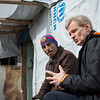 """Jan Egeland speaking with Anwar (29) a Syrian refugee from Idlib. <br /> <br /> """"I want my children to have a better future. For us it's over,"""" Anwar said.<br /> <br /> Egeland visited Syrian refugees in the Bekaa Valley in Lebanon on February 25, 2015.  <br /> <br /> Photo: NRC/Tiril Skarstein"""
