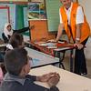 Secretary General Jan Egeland visits a school in the Khan al Ahmar bedouin community in the West Bank, Palestine. The school is threatened with demolition. Photo: Tiril Skarstein, NRC