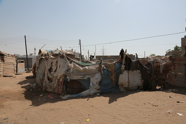 improvised shelter in Al Hali district, Al- Hudaydah governarate, where many cases of cholera were reported