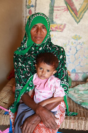 Shawaia 50 Years old and her son Bashar who is suspected to suffer from malnutrition<br /> Photo:Nuha Mohammed/NRC