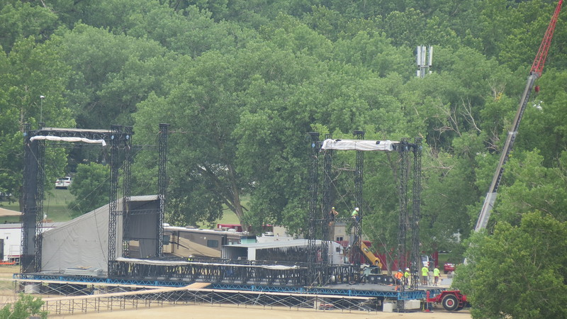 Stage construction for Kicker Country Stampede<br /> (Rachel Kamm | Collegian Media)