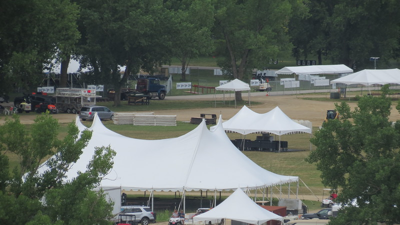 Setup is underway for Kicker Country Stampede<br /> (Rachel Kamm | Collegian Media)