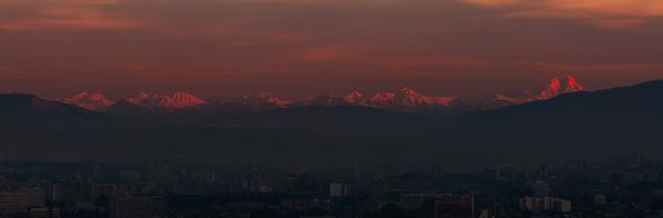 Caucasian mountain range seen from Tbilisi