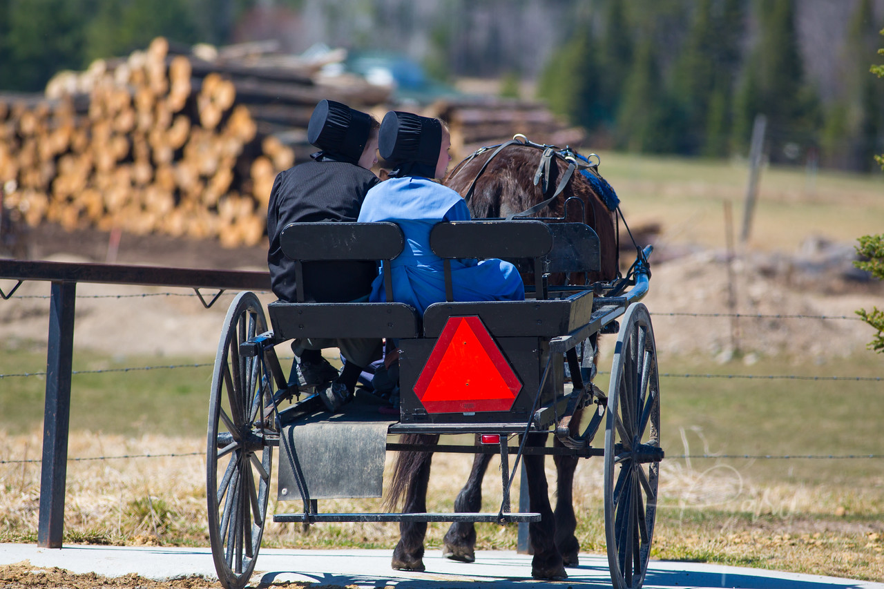 Two Amish girls wait outside the general store