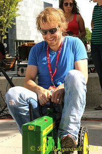 Adam Gregory tests his equipment at the Great John Deere Tractor Race