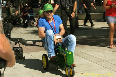 Adam Gregory makes a valiant run for second place at the Great John Deere Tractor Race