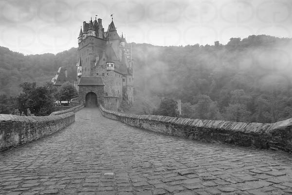 Burg Eltz in the Mist Monochrome