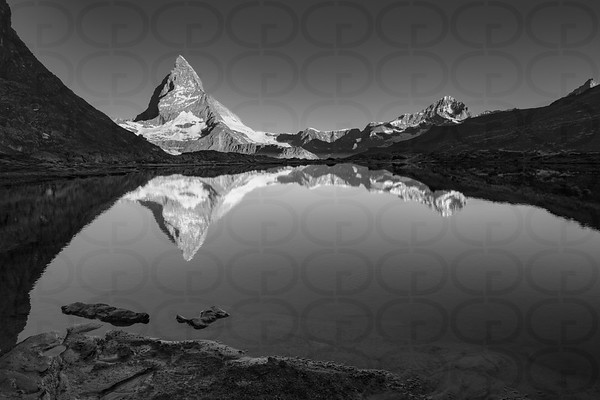 The Matterhorn and the Riffelsee in Monochrome