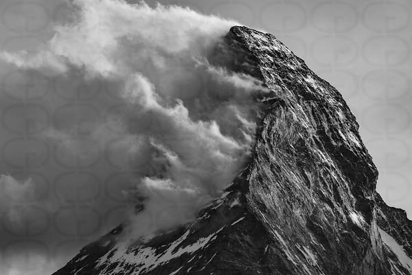 Matterhorn Peak with Clouds 2 Monochrome