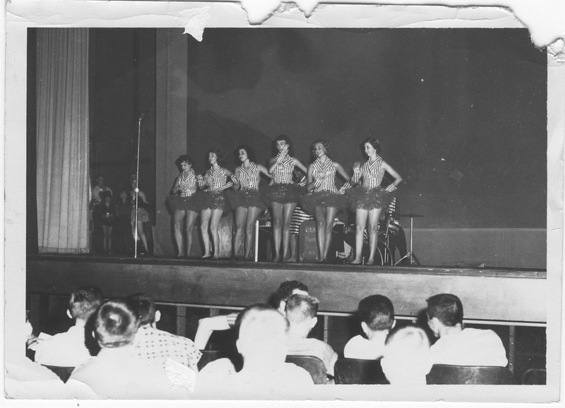 Mrs. D.D. Vickery's Dancing Girls performing at Moody Air Force Base 1955. L.R. Janice Ray, Martha Nell Durrance, Mary Carrell Smith, Sue Houston, Sarah Amelia Perry, Linda Gail Key