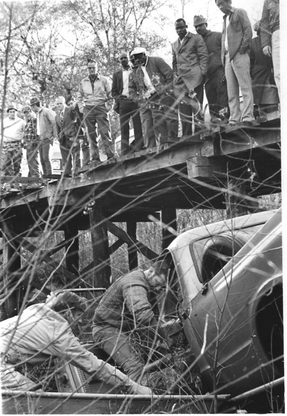 Accident at the wood bridge (Futch's Bridge) on the Cecil Road which resulted in the death of Isaac Stamford Sermons. (Appeared in January 13, 1972 edition of The Berrien Press; courtesy of Skeeter Parker)