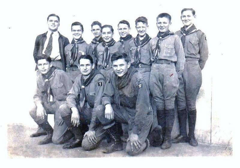 Boy Scouts, 1941, Front Row, L-R: Billy Harper, Frank Haile, Albert Folsom; Back Row, L-R: Scoutmaster John Daniel, Perry Alton Harris, Jr., Asa Roquemore, Dick Bennett Jr., P.L. Howard Jr.,Clyde Chism, Billy Chism, and J.B. Boyett Jr.(Courtesy of Jack Bennett, son of J.R. Bennett, Sr.)<br /> <br /> This picture also appeared in the Down Memory Lane column of The Berrien Press on September 25, 1969.
