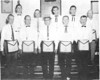 1959 Officers of Duncan Lodge, L-R: front, Washington P. Long, William H. Rowan, Robert F. Hancock, James L. Gray, Ralph G. Hackett. Back Row, Hubert L. Warr, Eston S. Griffin, Wayne Barrineau, Leburn J. Brown, T. J. Futch. (not pictured: Perry A. Harris, Sr.)