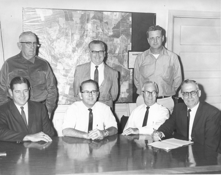 City of Nashville Mayor and Council.<br /> L-R, front: Toby Griner, Dr. Y. F. Carter, Perry Harris, Sr., W. K. Gaskins, Mayor; L-R, rear: Bubba Hall, Dillard Hand, and Hanson Carter.