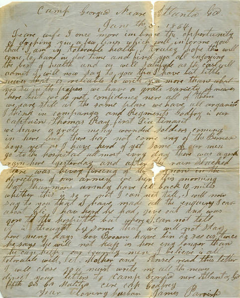 Letter from James Parrish, Civil War Soldier, June 5, 1864 (Courtesy of John C. Futch)