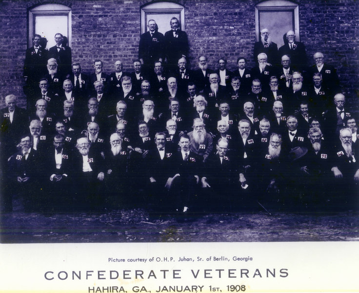 Confederate Veterans, Hahira, Georgia, January 1, 1908   (1)  W. A. Ram, Dec 31, 1845 (2) J. W. Rouse, Aug 12, 1843  (3) H. C. Lang, July 13, 1839  (4) E. J. Williams, Oct 21, 1842  (5) J. A. Mobley, June 23, 1839  (6) M. M. Howard, Dec 19, 1848  (7) J. H. Tillman, 1842  (8)  Hardy Christian, Aug 31, 1838  (9) Jno L. Right, Dec 20, 1844  (10)  J. P. Powers, 1840  (11) M. C. Futch, Aug 20, 1836  (12)  C. H. Shaw, June 8, 1842  (13)  S. B. Dampier, Nov 18, 1835  (14)  T. A. Judge, Nov 22, 1843  (15)  J. W. Taylor, Oct 25, 1833  (16)  B. J. Sirmans, Feb 24, 1847  (17)  S. W. Register, Aug 5, 1839  (18)  A. Cowart, Dec 29, 1843  (19) J. T. Courson, Mar 22, 1848  (20)  J. M. Patterson, May 27, 1840 (21) Elbert Mathis, Oct 4, 1836  (22)   M. A. Tolar, Dec 8, 1832  (23)  J. H. King, Nov 3, 1839  (24)  G. W. Robinson, May 1, 1833  (25)  W. M. Watson, 1840  (26)  Jessie Moore, June 12, 1839   (27)  N. J. Money, Mar 28, 1845  (28)  A. Dixon, May 10, 1847  (29)  W. J. Lamb, Apr 20, 1837  (30)  Troy Thomas, Jan 13, 1833   (31)  W. W. Joyce, May 3, 1832   (32)  W. H. Green, Apr 13, 1834  (33)  W. H. Dent, Oct 12, 1844  (34)  Jas. W. Parish, Mar 2, 1847  (35) to get from photo owner  (36)  ditto (37)  ditto   (38)  Blu Sirmans, Nov 15, 1839   (39)  J. A. Lawson, July 10, 1836  (40)  J. J. Parrish, Sept 11, 1834  (41)  R. W. Roan, June 18, 1846  (42)  A. T. Tadlock, March 27, 1835  (43)  W. R. Starling, May 3, 1831  (44)  W. M. Lawson, Sept 7, 1834  (45)  W. E. Stephens, Dec 15, 1849  (46)  G. W. Powell, March 3, 1847  (47)  J. F. Barfield, July 7, 1833  (48)  W. W. Rutherford, Oct 18, 1825  (49)  J. J. Hutchinson, Oct 1, 1843  (50)  G. C. Hodges, Oct 13, 1846  (51) T. E. Swilley, Sept 22, 1843  (52)  J. I. Martin, Spt 21, 1844  (53)  E. J. Shanks, March 3, 1840  (54)  H. L. Smith, Dec 28, 1841  (55)  G. W. Stephens, Jan 8, 1833   (56)  T. A. Roberts, July 6, 1844  (57)  T. L. Wiseman, June 4, 1838  (58)  W. W. Wilkderson, June 10, 1830  (59)  H. B. Lawson, Aug 28, 1844  (60)I. J. Weldon, Aug 28, 1844  (61)  H. M. Cannon, July 12, 1846  (62) I. F. Lawson, Jan 29, 1844  (63) G. W. Coppage, March 28, 1835  (64)  Jno. A. Folsome, July 14, 1834  (65)  Dave Clanton, May 10, 1846  (66) J. M. Hall, Jan 8, 1849  (67) S. L. Hill, Aug 13, 1837  (68-71 not listed)  (72)  L. W. Mobley, Mar 4, 1842  (Photo contributed by Paul King, Nashville, Berrien County, Georgia)