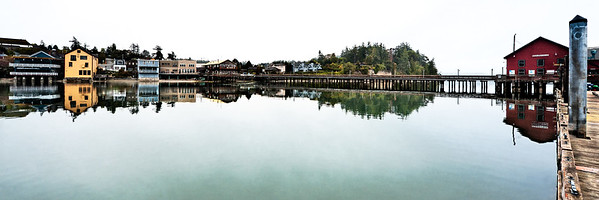 The New Waterfront: a recent panoramic view of the Coupeville, Washington waterfront and wharf.