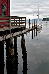 At the Wharf: historic Coupeville Wharf and Penn Cove.
