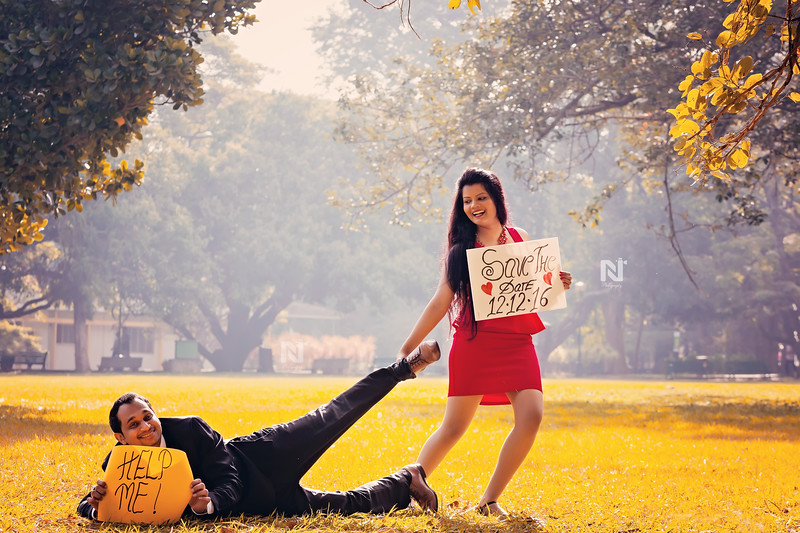 Save the date - creative couple photoshoot in Bangalore
