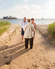"""Does it get more """"Ludington"""" than this? Beautiful Lake Michigan water and sky, the awesome dunes on the lakeshore, and of course, the S.S. Badger and Lighthouse in the background. What an amazing location to renew your vows! :)"""
