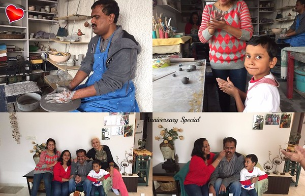 Praveen -( visually challenged) Aalokparna Mahato and their son Akshay came to the Studio on Sunday -- Marriage Anniversary Celebration with Clay --what a delight it was !!!  Felt more humbled n blessed  !!!
