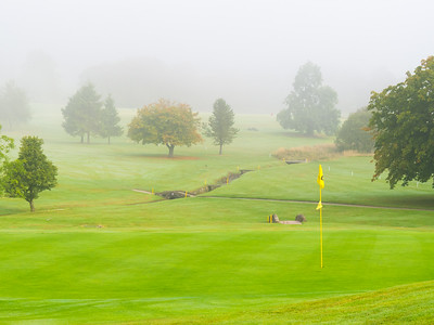 18th green in mist, Balmore Golf Club