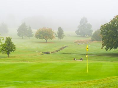 18th green in mist, Balmore Golf Club
