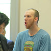 Daniel Brand, 34, of Leominster mouths something to someone in the audience as he entered the court room in Leominser during his arraignment on Monday morning. SENTINEL & ENTERPRISE/JOHN LOVE