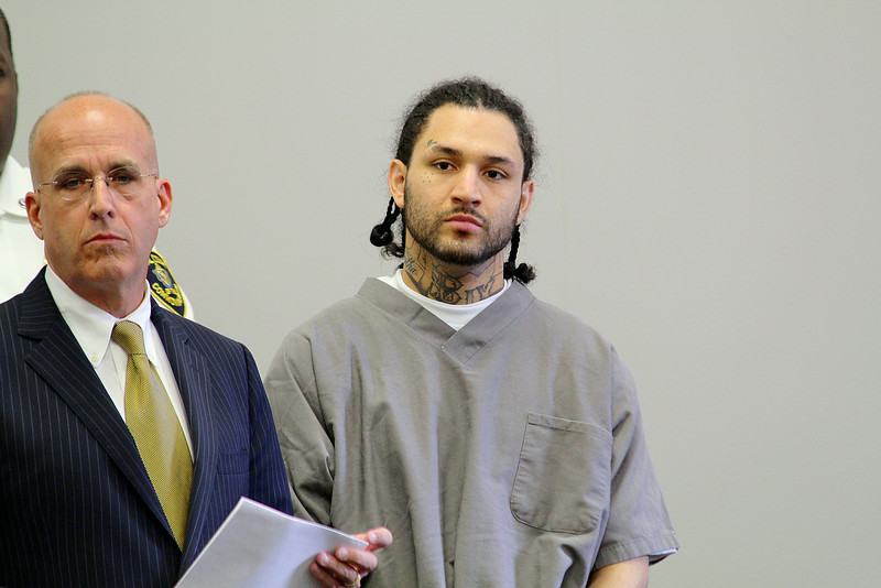 MCI Shirley inmate Allan Erazo, 27, in Clinton Court with is Attorney Dan Cronin on charges he beat another inmate so bad he died on the way to the hospital. SENTINEL & ENTERPRISE/JOHN LOVE