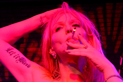 Courtney Love performing live at the POPLIPPS book launch with Nylon Magazine on September 9, 2013 in New York City.
