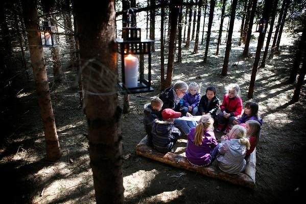 Højtlæsning i skoven, børnehave<br /> Foto: Jens Hasse/Chili
