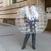 NEW YORK - March 24, 2020: for NEWS. A Man in a bubble walking down Broadway near the Charging Bull and Bowling Green amid the COVID-19 Coronavirus pandemic. nypostinhouse (Photo by: Taidgh Barron/NY Post)