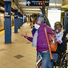 NEW YORK - March 31, 2020: for NEWS. Two friendly straphangers, who are prepared but not afraid of the coronavirus at the Columbus Circle - 59th Street MTA subway station amid the COVID-19 Coronavirus pandemic. nypostinhouse (Photo by: Taidgh Barron/NY Post)
