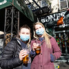 NEW YORK - April 22, 2020: for NEWS. Linsey Hall, 25, of the Upper East Side and Kristy Tefft, 26, of Valhalla, N.Y., grab a takeout cider at Rathbones Tap Room and Grill bar on 2nd Avenue amid the COVID-19 Coronavirus pandemic. nypostinhouse (Photo by: Taidgh Barron/NY Post)