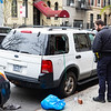 NEW YORK - April 23, 2020: for NEWS. NYPD Police Officers investigate a vehicle break-in where a person threw a brick through the window of a white SUV outside Mount Sinai Beth Israel Hospital on East 15th Street amid the COVID-19 Coronavirus pandemic. nypostinhouse (Photo by: Taidgh Barron/NY Post)