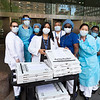 NEW YORK - May 7, 2020: for NEWS. Nurses at the Bellevue Hospital Cancer Center take a food delivery for lunch from Artichoke Pizza amid the COVID-19 Coronavirus pandemic. nypostinhouse (Photo by: Taidgh Barron/NY Post)